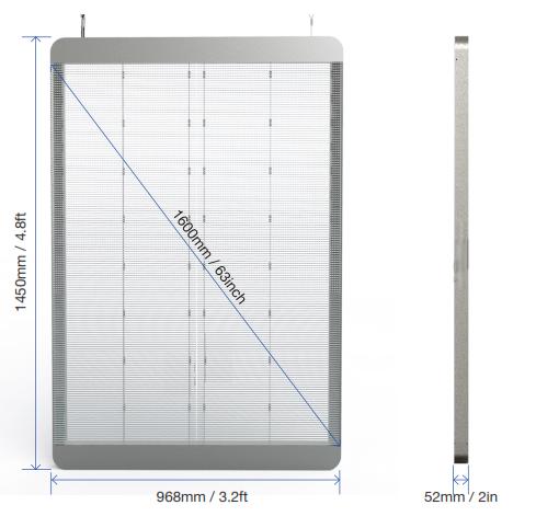 tled dimensions Transparent LED (TGLASS) displays