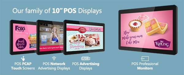 """Our ten inch POS Advertising Displays and POS PCAP Touch Screens have been so popular we have now been able to launch the new addition to our range of 10"""" POS Displays. The stunning commercial grade monitor is perfect for public environments such as shelf edge and POS displays. With the HDMI input you can attach external devices such as media players and power your screen with PoE (Power Over Ethernet). Control, customise and scale the monitor via RS-232 for the ultimate control. Our POS Professional Monitors are so versatile that if required, they can also be used as a POS PCAP Touch Screen Monitor. The 10"""" POS Professional Monitor is the latest addition to our POS range. This range includes our POS Advertising Displays, POS Network Advertising Displays and POS PCAP Touch Screens. The new 10"""" POS Professional Monitors are in stock now and ready for immediate dispatch. Get in touch today to take advantage of these incredible new displays."""