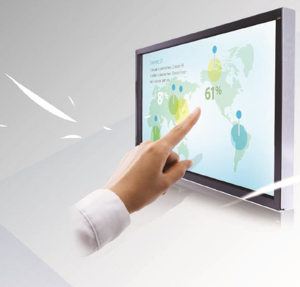 touch monitor with hand